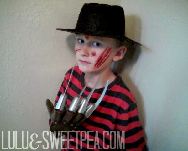 Ayden was Freddy Krueger. We used some temporary tattoos on his face because I was not about to attempt face painting on Freddy. The temporary tattoos were ...  sc 1 st  Lulu u0026 Sweet Pea : kids freddy costume  - Germanpascual.Com