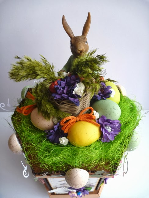 Peter Rabbit Basket of Carrots and Eggs for Rotating Easter Photo Carousel by Dana Tatar