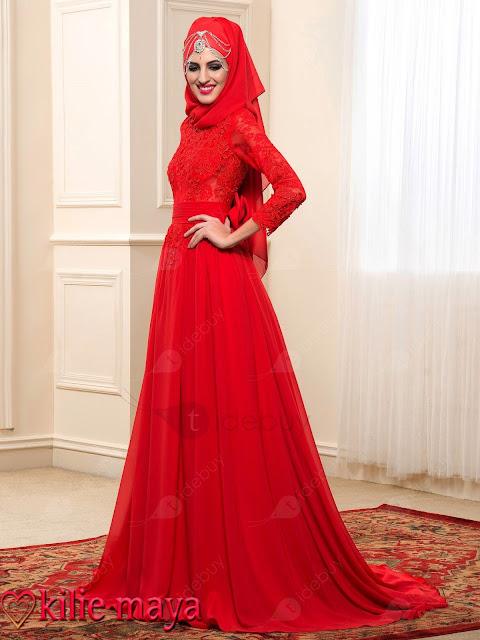 muslim wedding dress with hijab red