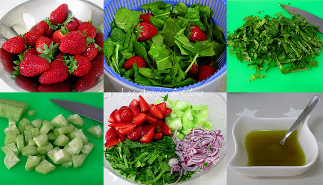 Preparación ensalada de espinacas con fresas y pepino