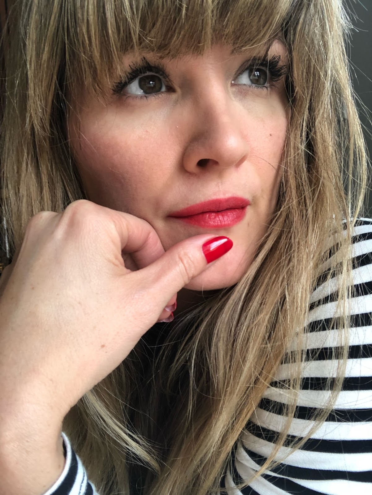 November Grey: Stripes, Red Lips, Red Nails, Bold Lashes