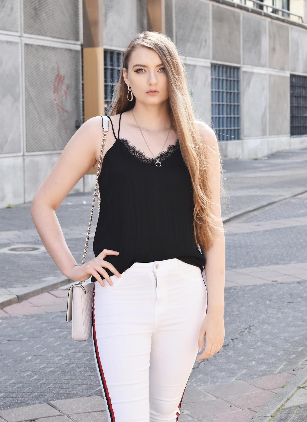 białe spodnie stylizacje 2018
