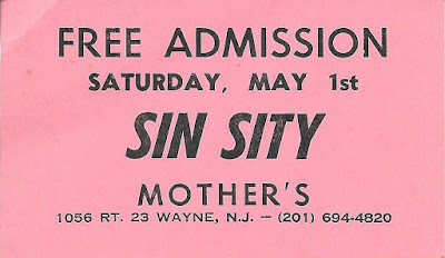 Mother's rock club free admission card to see the band Sin Sity