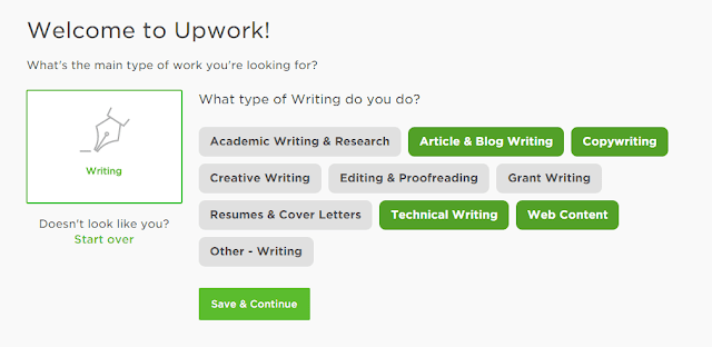 Choosing sub category | Upwork™