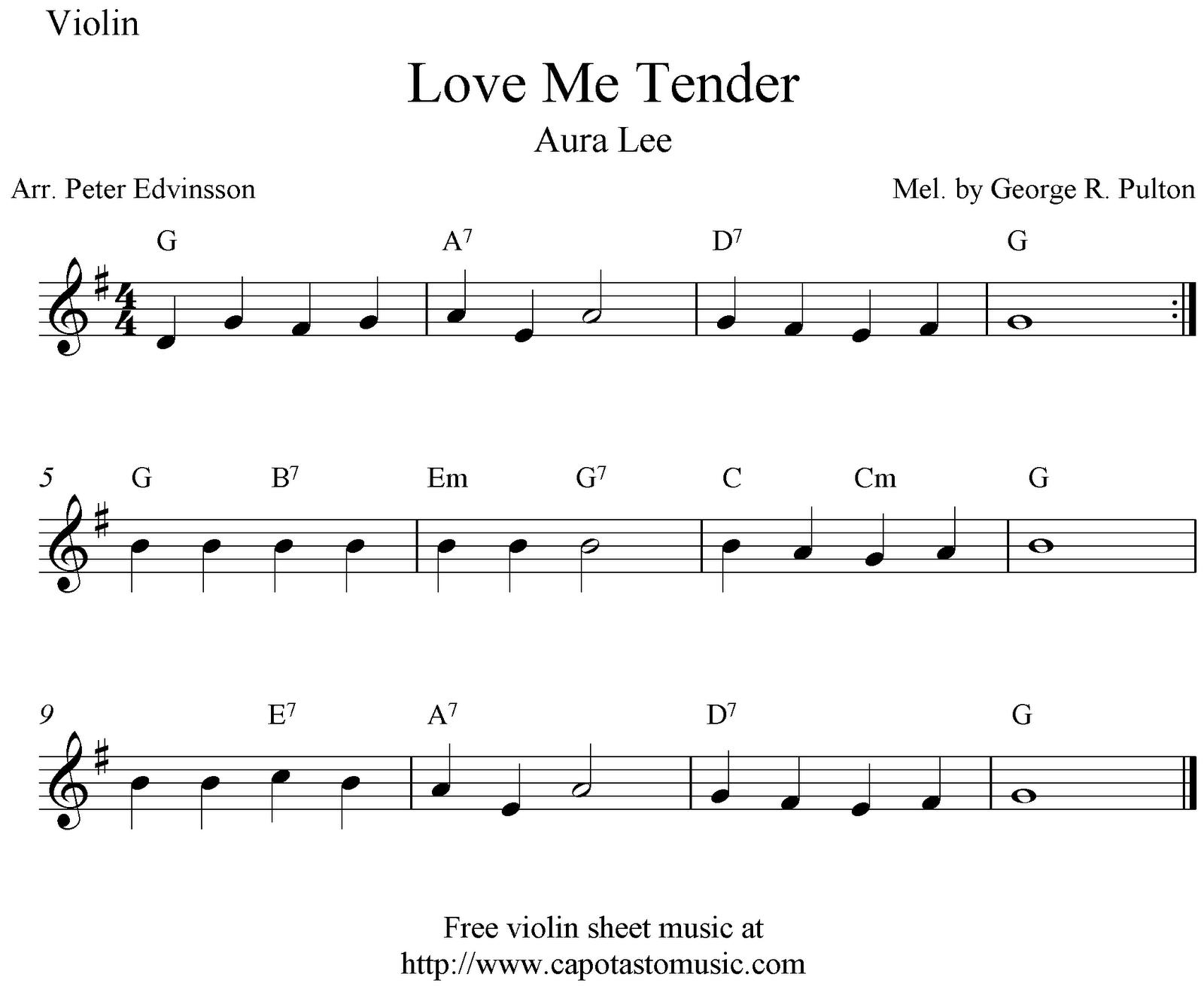 Love Me Tender Aura Lee Free Violin Sheet Music Notes