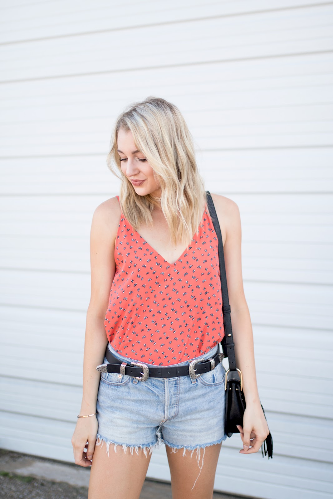 Orange tank with cutoffs