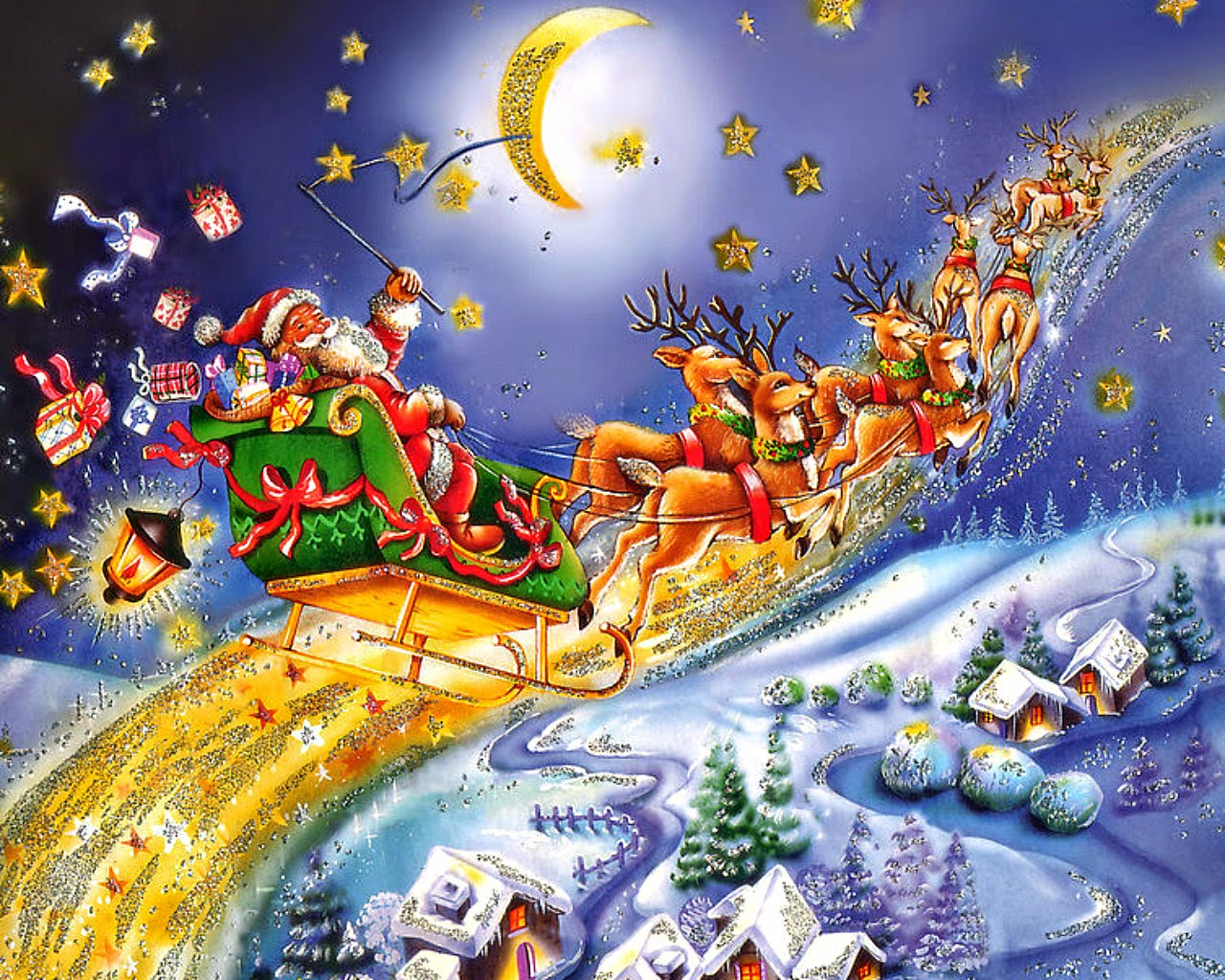 Santa Claus coming to town riding his reindeer sleigh flying in sky ...