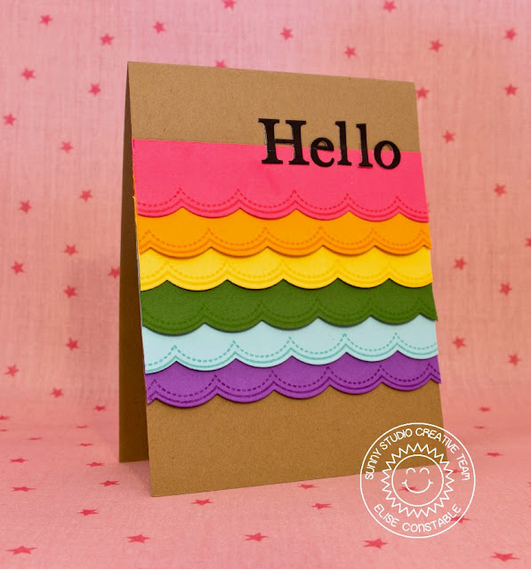 Sunny Studio Stamps:  Sunny Borders Scalloped Rainbow Hello Card by Elise Constable.