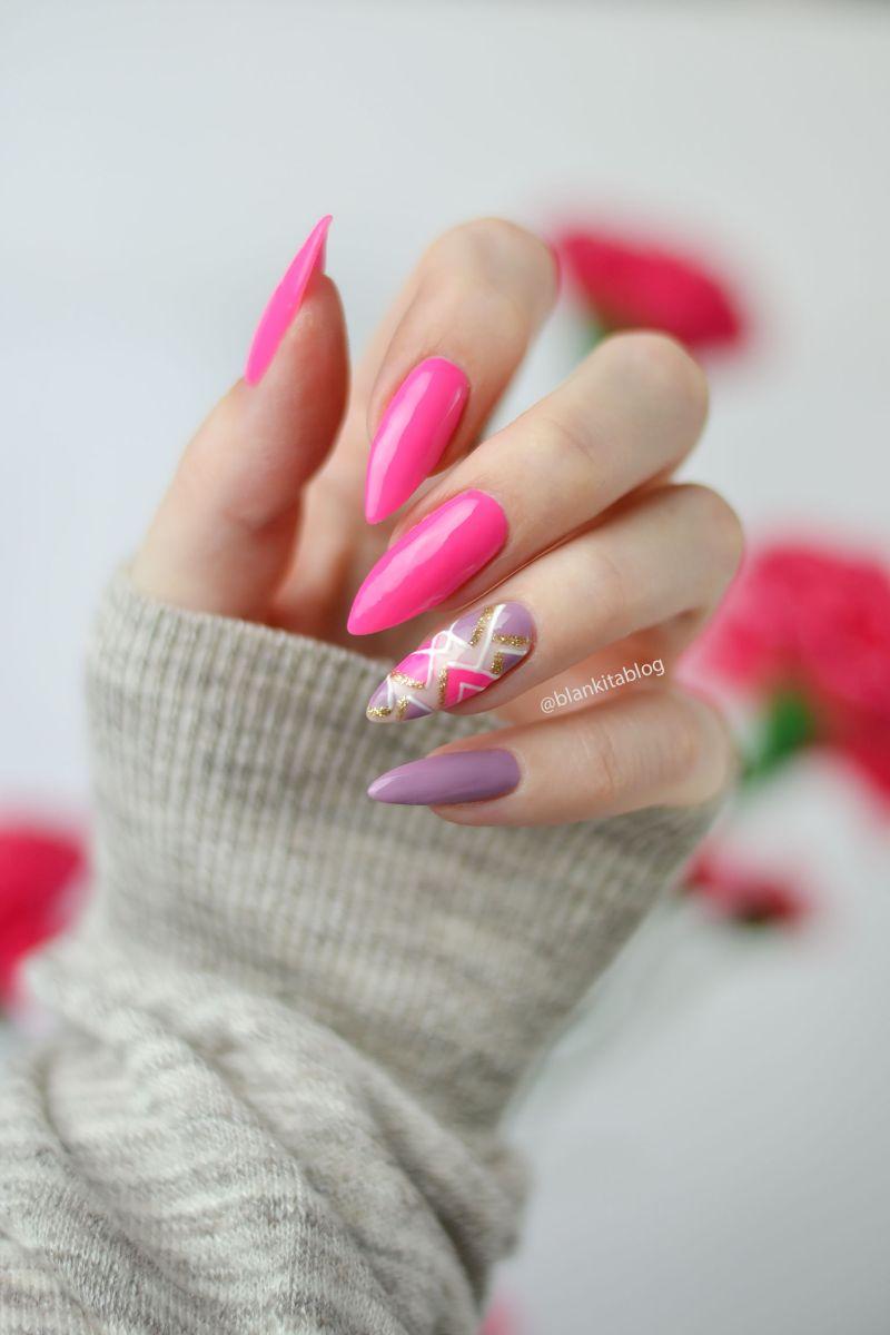 semilac intensive pink, intensywny roz, paznokcie hybrydowe, neonowy roz,