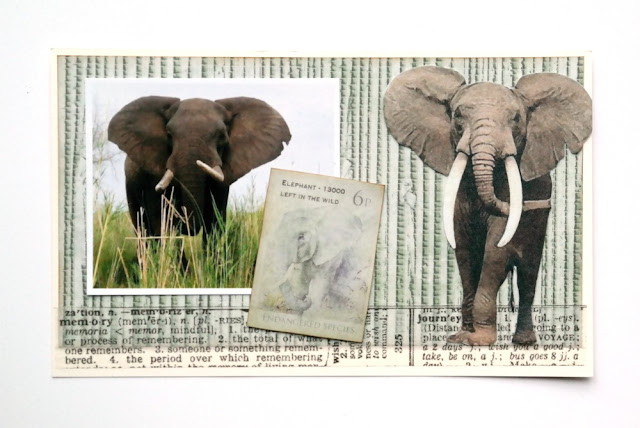 Call of the Wild Elephant Postcard by Dana Tatar for FabScraps