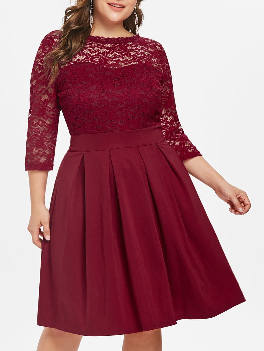 Lace Panel Plus Size Fit and Flare Dress