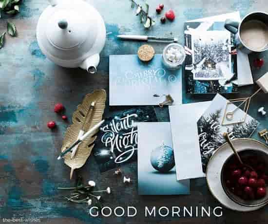 gud mrng with christmas greeting cards still life