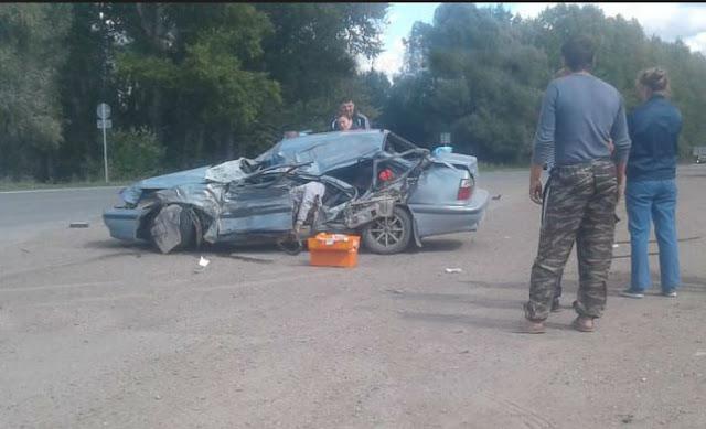 В Башкирии Daewoo Nexia столкнулась с КамАЗом: водитель погиб: Видео