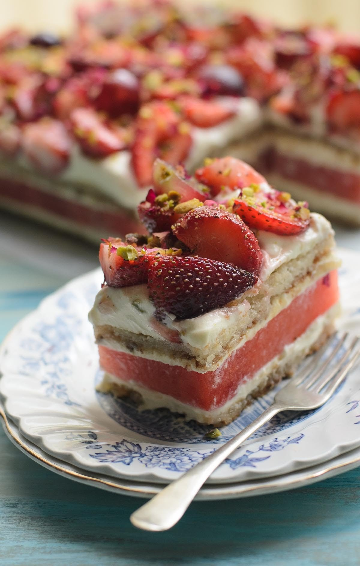 delicious Watermelon and Strawberry Cake