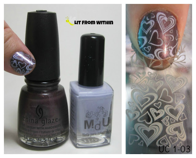 What I used:   China Glaze No Peeking!, MdU Lilac, and stamping plate UC 1-03