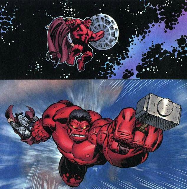 Hulk Vermelho erguendo o Mjolnir por estar fora de gravidade
