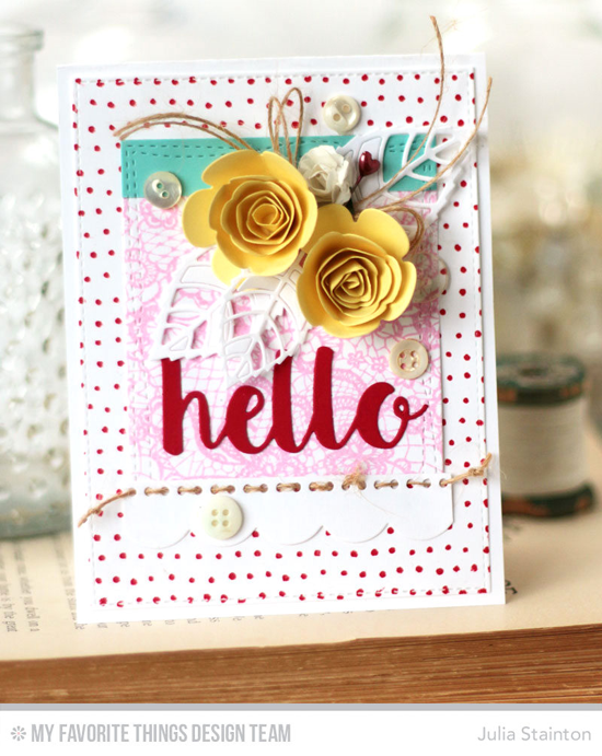 Floral Hello Card by Julia Stainton featuring the Lace Background and Myriad Dot Background stamps, and the Hello There, Rolled Scalloped Rose, Layered Leaves, Wonky Stitched Rectangle STAX, Blueprints 13, and Blueprints 14 Die-namics #mftstamps