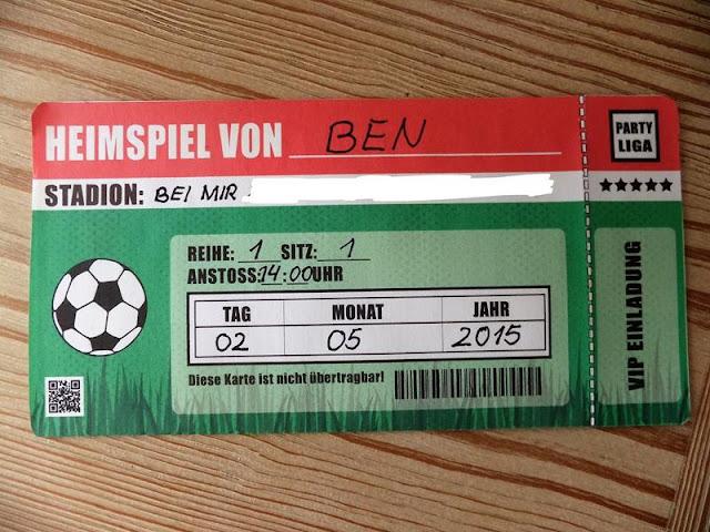 Einladungskarten Fußballparty Ticket für ein Heimspiel