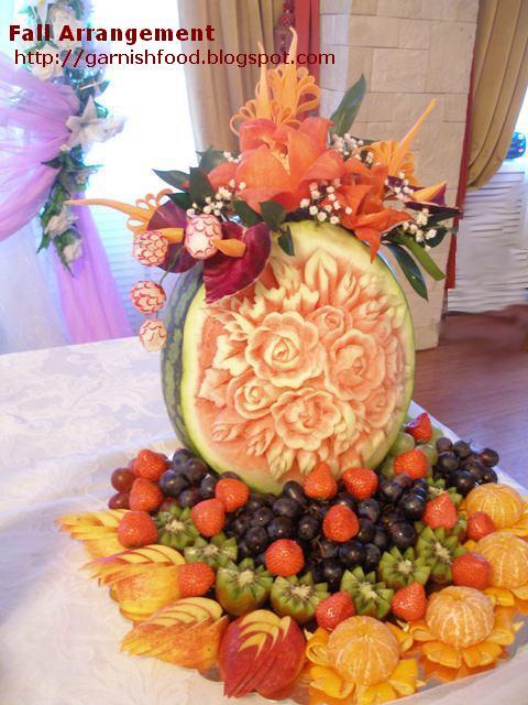 fruit carving arrangement watermelon fall wedding