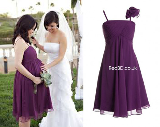 Chiffon Spaghetti Straps Empire Style Knee-length Bridesmaid Dress