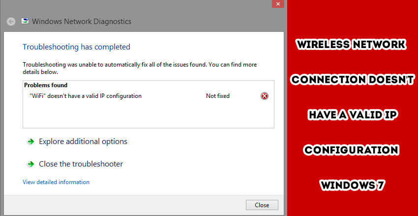 does not have valid ip configuration windows 7