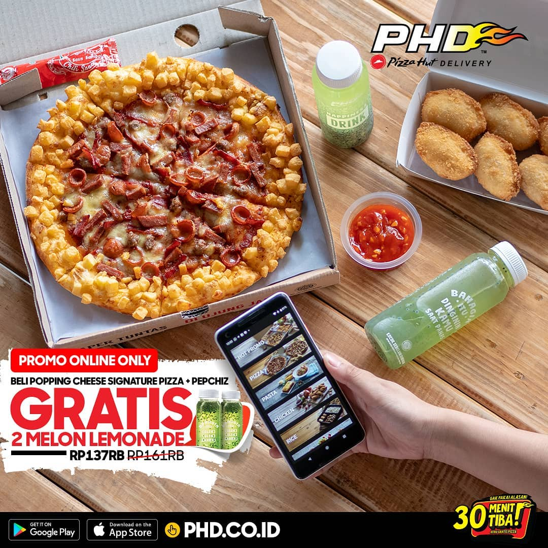 PHD - Promo GRATIS 2 Melon Lemonade ONLINE Topping signature pizza (s.d 5 Des 2018)