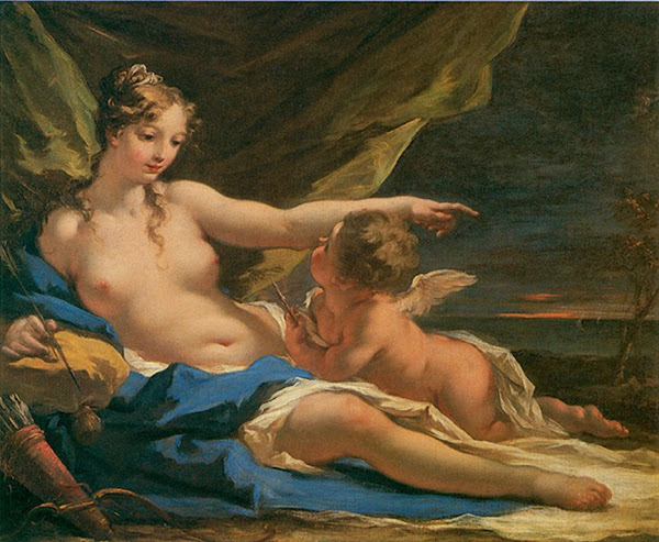 Venus and Cupid by Giovanni Antonio Pellegrini , Classical mythology, Greek mythology, Roman mythology, mythological Art Paintings, Myths and Legends
