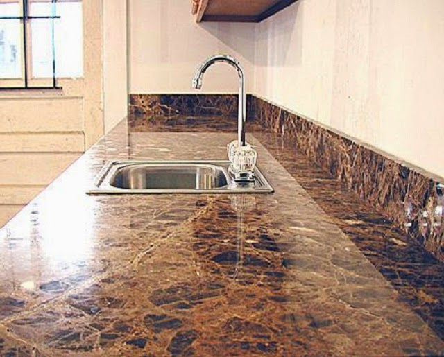 Marble Tile Kitchen Countertops