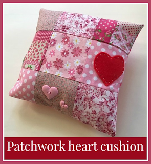 How to sew a simple patchwork heart cushion for Valentine's Day
