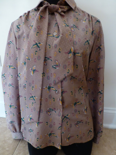 bird blouse with tie front