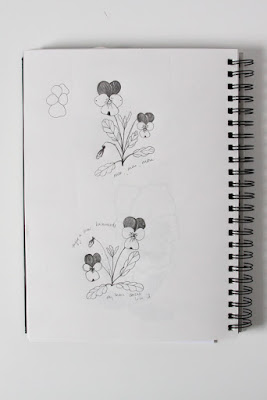 violas, sketchbook, garden sketching, Anne Butera, My Giant Strawberry