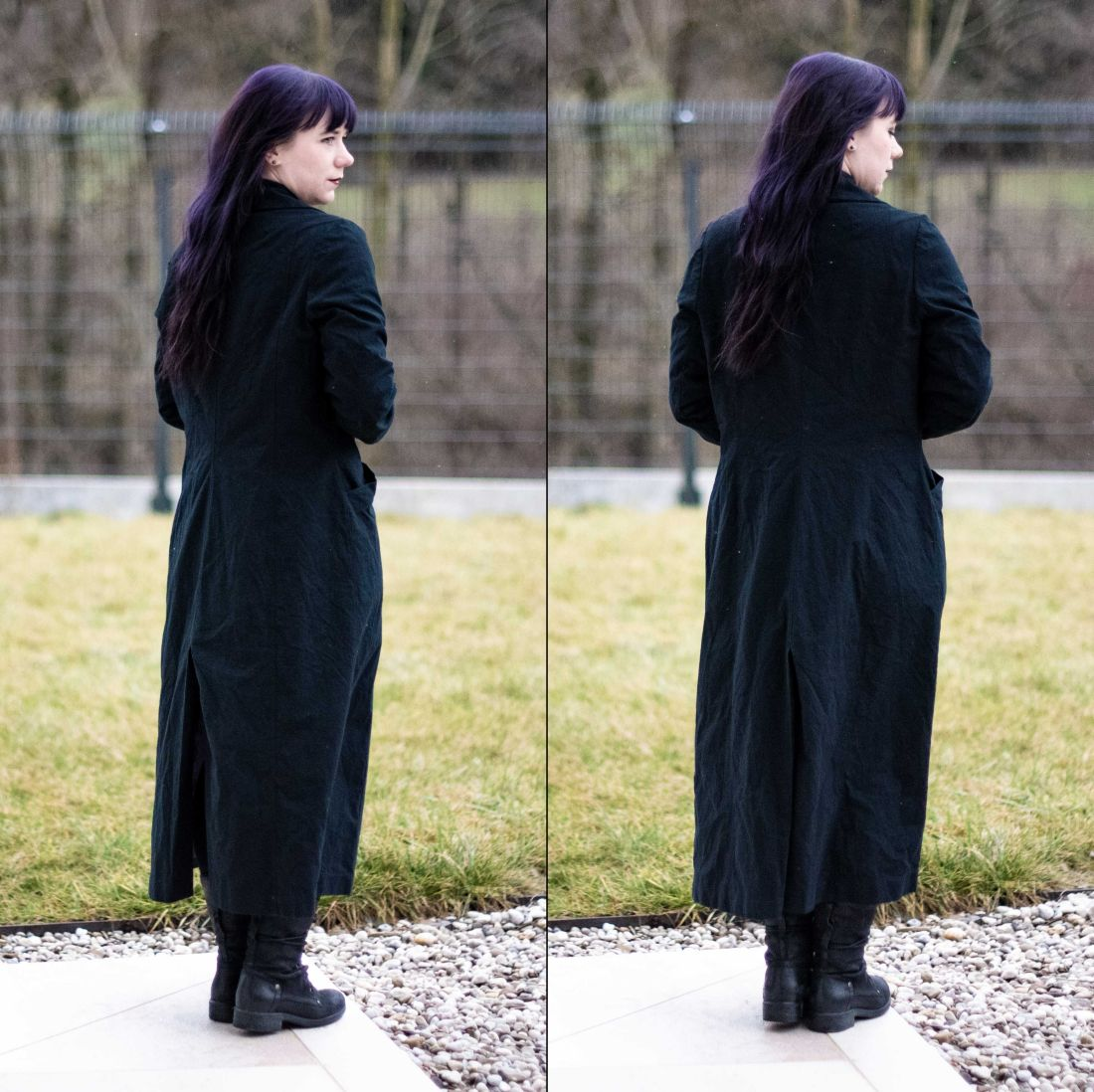 Minn's Things sewing By Hand London's Rumana Coat pattern vent back view