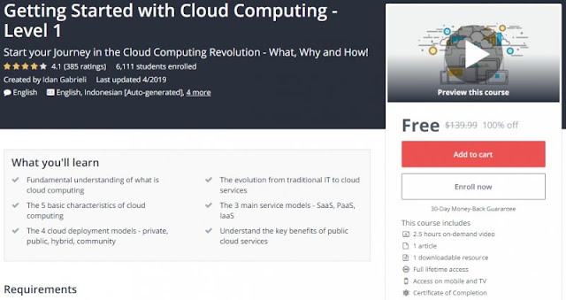 [100% Off] Getting Started with Cloud Computing - Level 1  Worth 139,99$