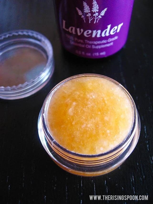 Homemade Lip Scrub with Sugar, Honey & Lavender
