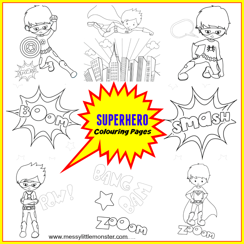 Free Printable Superhero Colouring Pages. 10 different super hero colouring sheets to print. Superhero printables for kids. make a superhero coloring book.