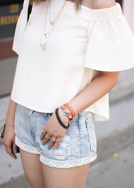 Off the Shoulder Top & Denim Shorts