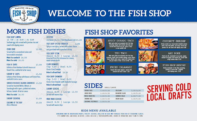 Fish Shop Pacific Beach Menu