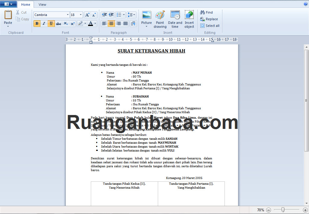 Siap Edit Dan Download Format Surat Hibah Microsoft Word