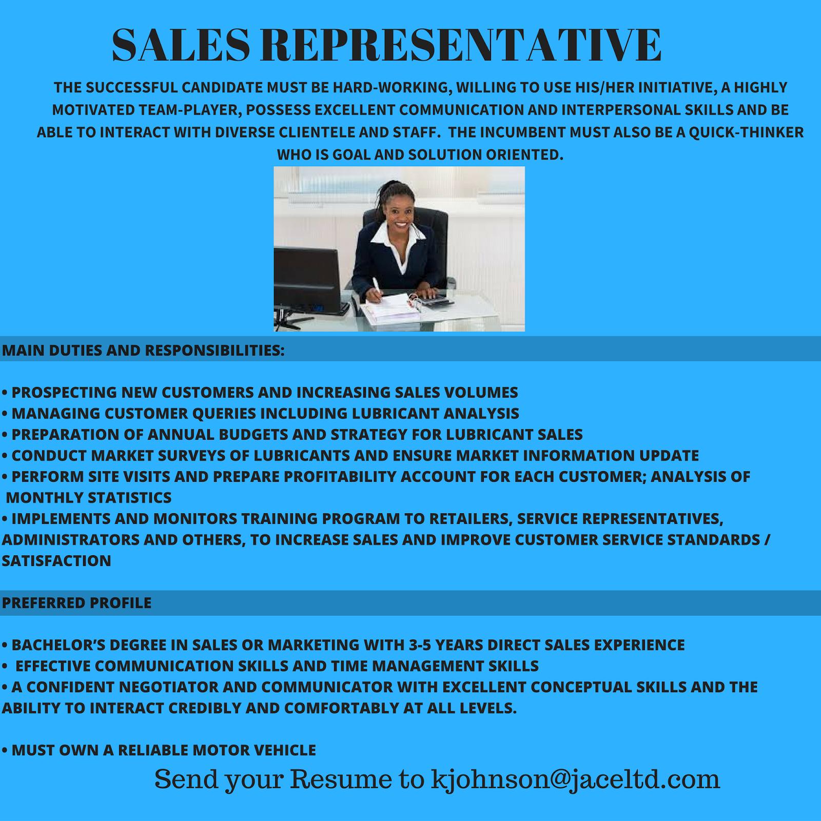 jobs postings caribbean s representative jace management s representative jace management consultants