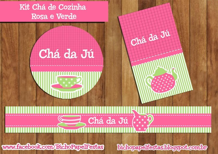 Kit Digital Chá de Cozinha Rosa e Verde