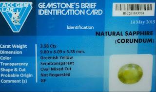 Batu Natural Green Sapphire Special + Memo