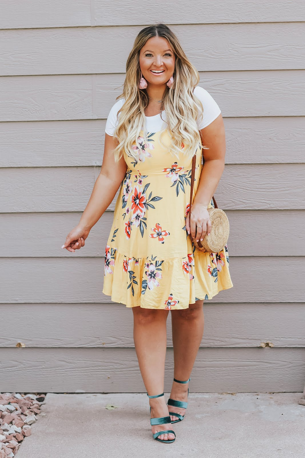 Yellow Floral Dress featured by top Denver fashion blog, Delayna Denaye
