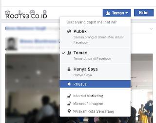 Pengaturan khusus untuk menampilkan status facebook