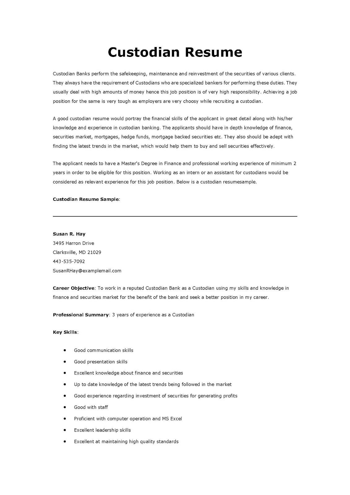 Supervisor Resume Examples 2012 Resume Samples Custodian Resume