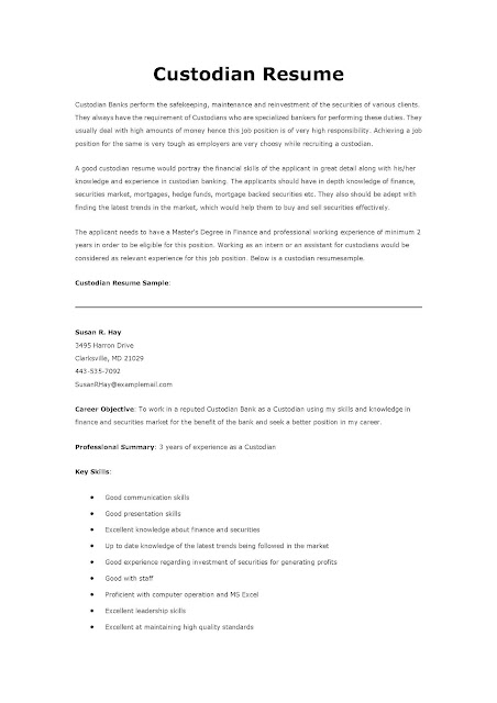 example of a resume for a custodian