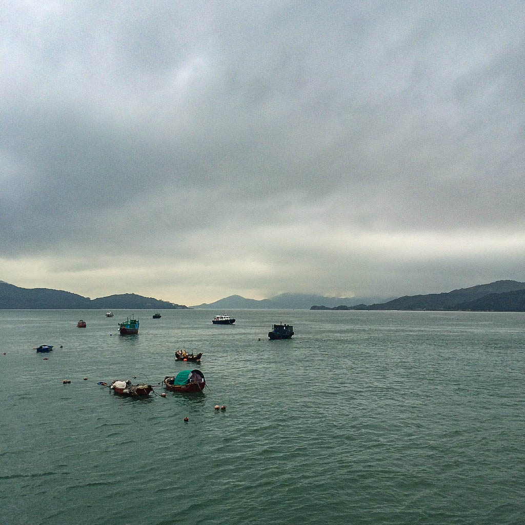 Fishing boats at sea from Peng Chau island, Hong Kong