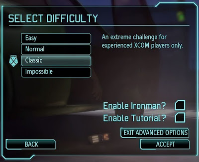 XCOM: Enemy Unknown - Select Difficulty screen
