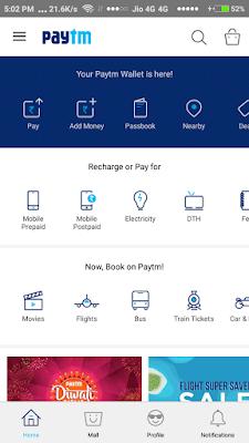 Home Screen of PayTM - Screenshot