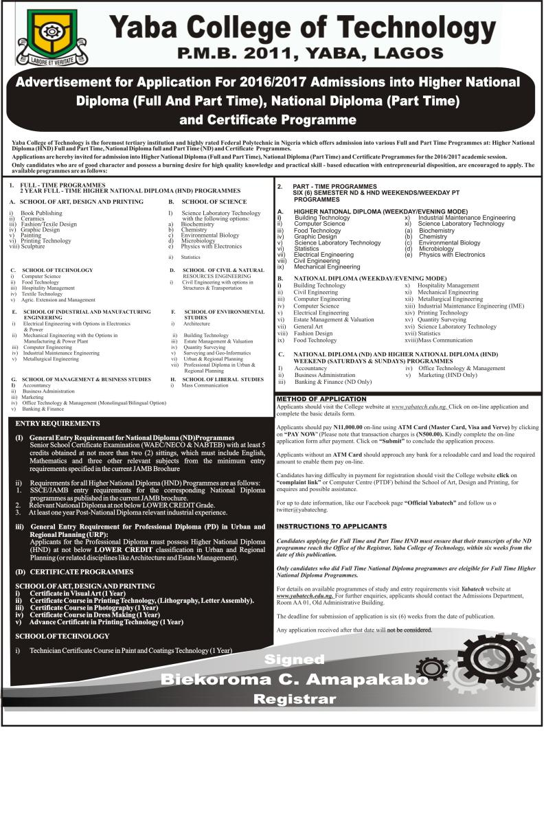 YABATECH HND Part & Full-Time Admission Form