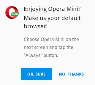Opera Mini Default Browser Pop Up